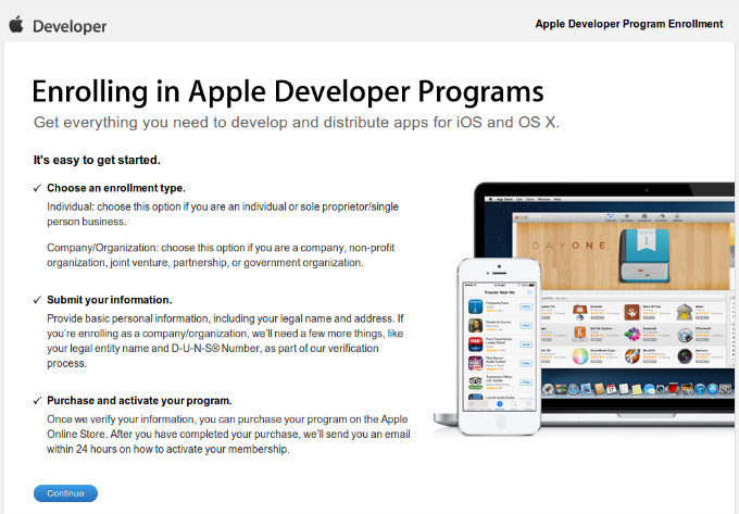 Enrolling in Apple Developer Programs