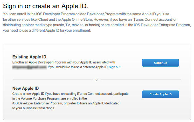 Sign in or create an Apple ID Apple Developer Program Enrollment