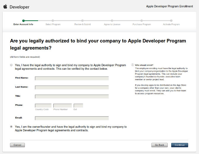 Apple Developer Program Enrollment Enter Legal Contact Information