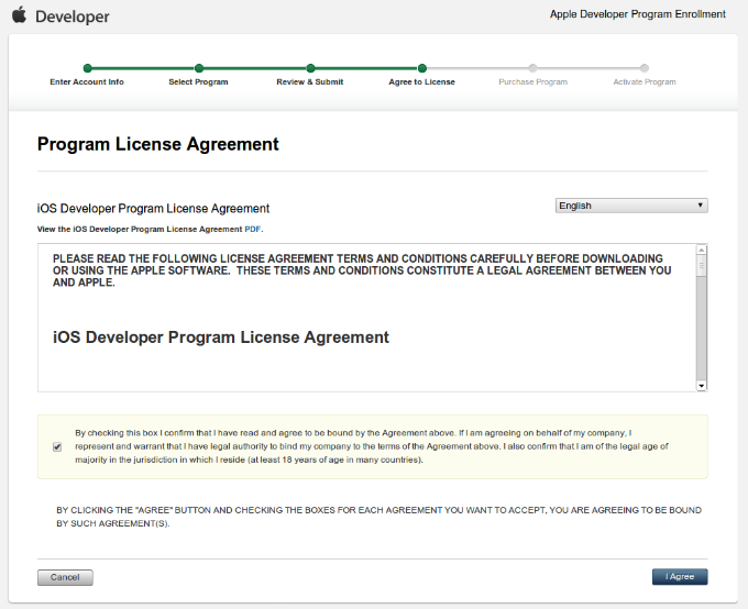 Apple Developer Program Enrollment License Agreement